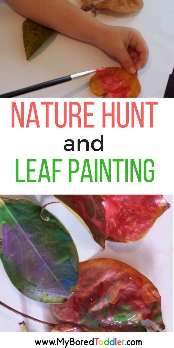 Nature color and leaf hunt with leaf painting for toddlers and preschoolers. A fun Fall or Autumn activity for one year olds, 2 year old, 3 year olds. #toddleractivity #leafpainting #kidspainting
