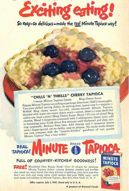 1951 ad for Minute Tapioca featuring a simple, tasty recipe for cherry tapioca pudding. #vintage #desserts #1950s #ads