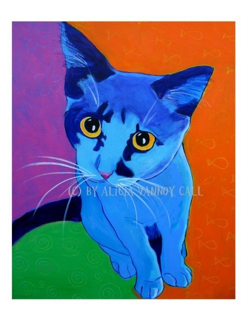 Print of Colorful Kitten Pop Art Painting by Alicia VanNoy Call.    This bright, happy artwork will make a wonderful addition to any room. Perfect