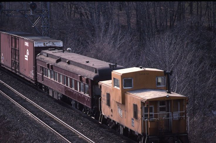 "CANADIAN PACIFIC RAILWAYS TRAIN # 522 BUSINESS CAR "" MOUNT ROYAL"" TORONTO HAMILTON & BUFFALO RWY CABOOSE # 81 , ONTARIO FEBUARY 13,1990"