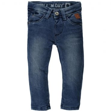 Blauwe, lichtjes afgewassen jogjeans - Maat 62-86 - SS1§ - Boys - Mister Monkey and Misses Butterfly - Tumble 'n Dry