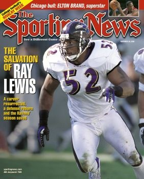 Baltimore Ravens' Ray Lewis - November 20, 2000 - CLICK to Buy The Cover