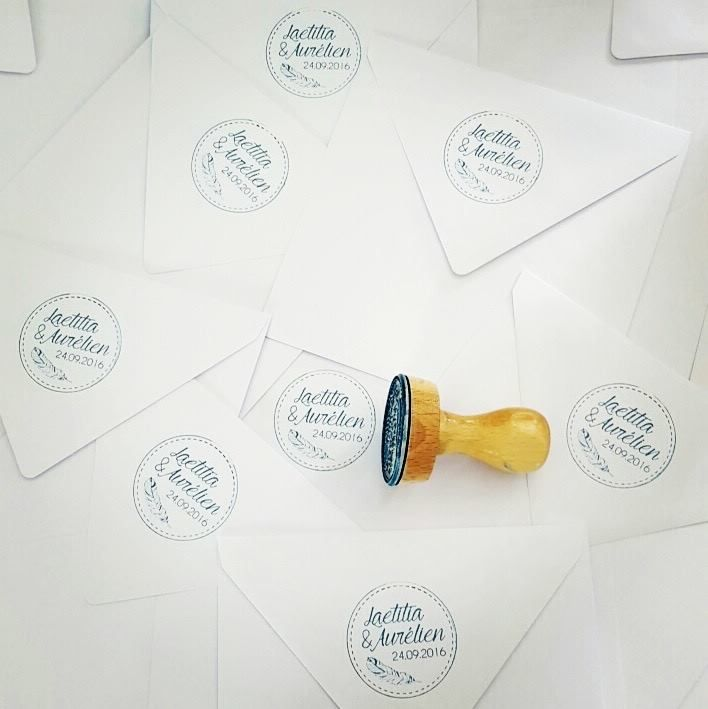 Tampon personnalisé mariage Laetitia et Aurélien - 100% personnalisé - création unique - wedding - stamps  https://www.facebook.com/lespetitsmooceane/