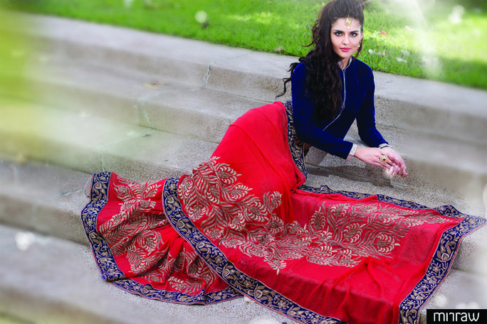 Gorgeous Red foil shimmering zari worked saree in royal blue border & red foil shimmer pallu along with royal blue velvet blouse to give you a glam look.