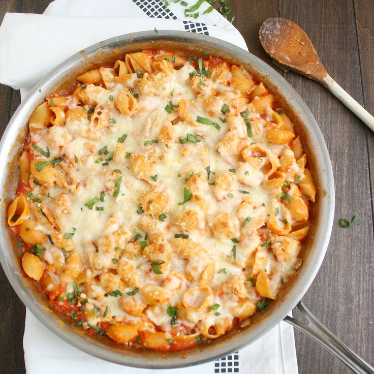Chicken parmesan baked pasta -I used leftover noodles and sautéed chicken and onions together and then added bottled spaghetti sauce and some chicken broth and then I mixed it all together and baked it. It was great!-KimK-