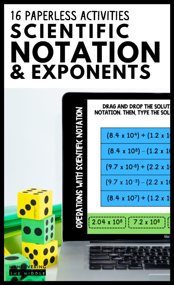 Exponents And Scientific Notation Digital Math Activity Bundle 8th Grade Math Scientific Notation Math Activities Notations [ 1200 x 735 Pixel ]