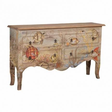 Mahogany Sideboard with Original Under the Sea Art  Weathered Hand-painted Four Drawer Sideboard with Pull-outArtisan Stain finish on four drawer sideboard with fabric applique. Fabric is hand-painted with Bali island tropical motif.
