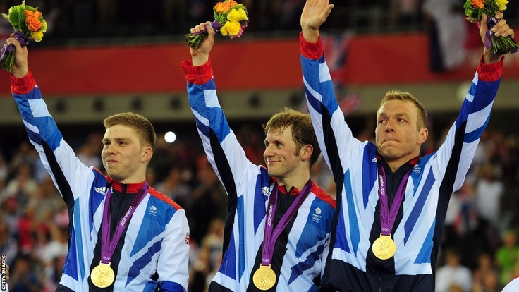 Philip Hindes, Jason Kenny & Sir Chris Hoy celebrate their victory in the team sprint at the veledrome