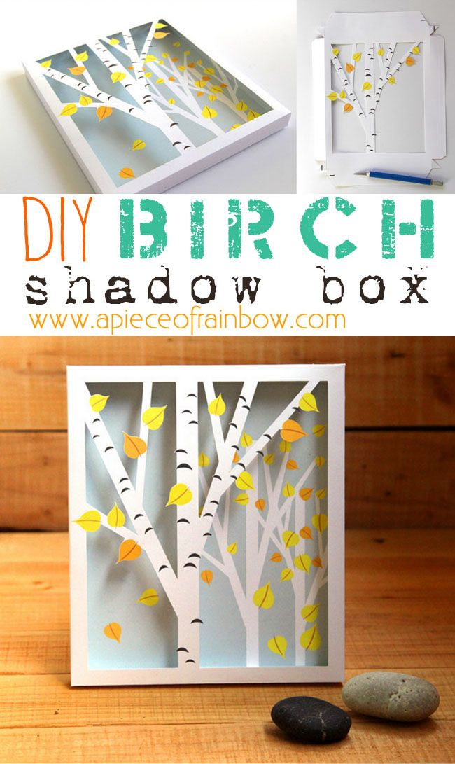 Printable Birch Shadow Box