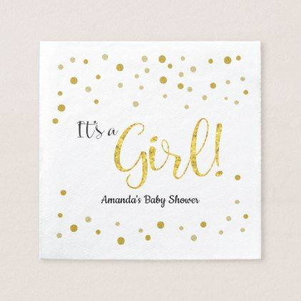 Gold Glitter Look Sparkle Baby Shower Paper Napkin - baby gifts child new born gift idea diy cyo special unique design