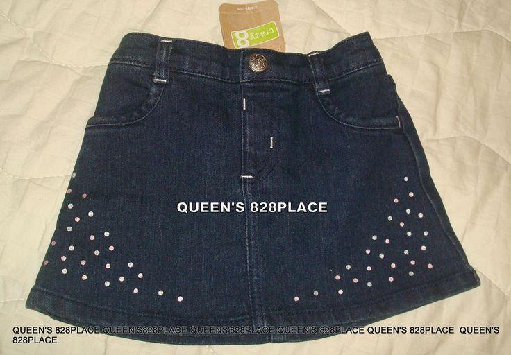 Nwt Crazy 8 girls Size 18-24 months Blue Stretch Denim Skirt jean Polka dot New #Crazy8 #skirt #DressyEveryday