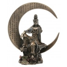 Cold Cast Bronze Quan Yin Statue On Crest Moon with Heart Sutra