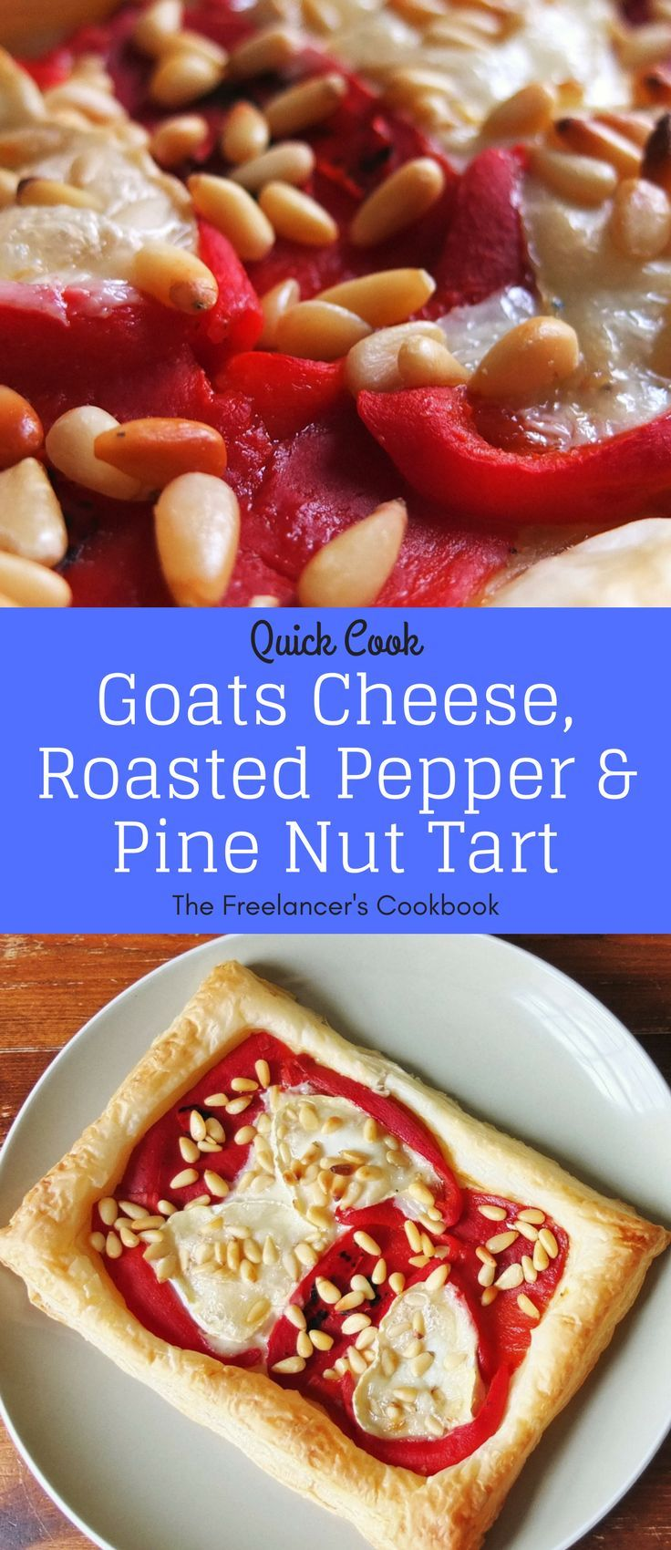 A super quick dinner or lunch - this goats cheese, red pepper and pine nut tart is an easily prepared healthy vegetarian meal using pre-made puff pastry.