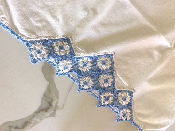 Handmade vintage embroidered pillowcase set of two