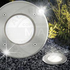 Good Boden Einbau Strahler AUSSEN mm LED Silber Edelstahl Leuchte Lampe Bodenleuchten