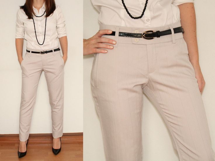 Skinny Dress Pants Ladies Trousers in Light Grey for Women Office ...