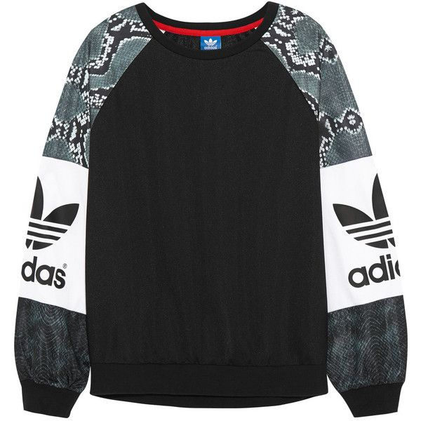 adidas Originals LA printed jersey sweatshirt ($72) ❤ liked on Polyvore featuring tops, hoodies, sweatshirts, sweaters, sweatshirt, adidas, jumpers, black, sweatshirts hoodies y jersey knit tops