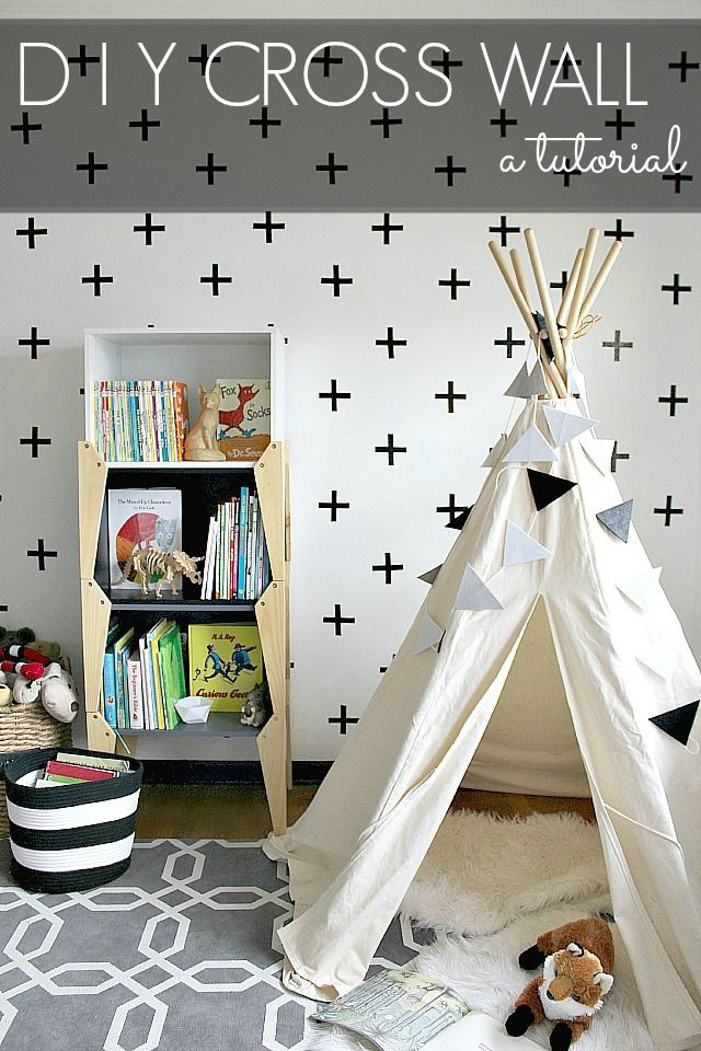 #DIY Cross Wall made with electrical tape tutorial