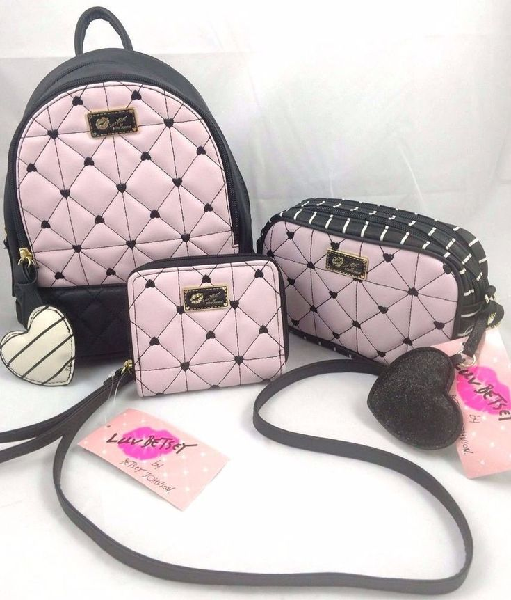 Luv Betsey Johnson Pink Quilted Heart 5pc Set Backpack Crossbody Wallet Wristlet #BetseyJohnson #BackpackStyle