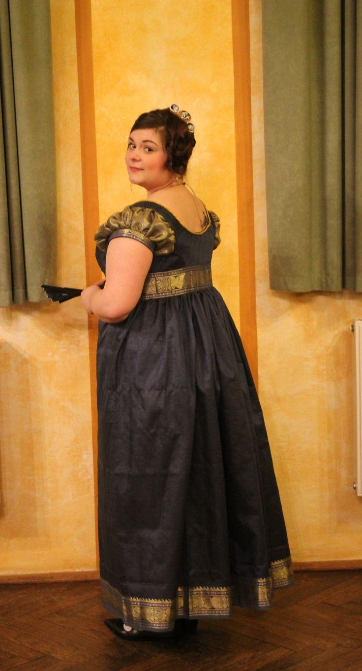 blue and gold regency dress