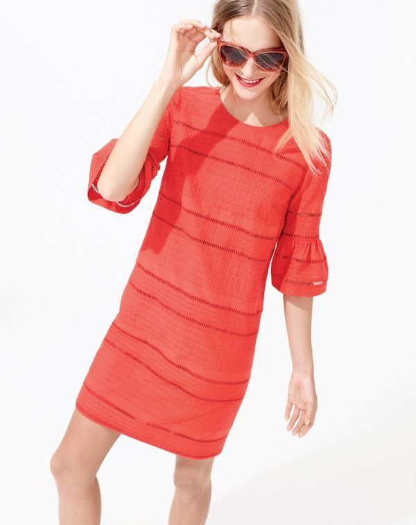 J.Crew women's flutter-sleeve shift dress in eyelet and Franny sunglasses.