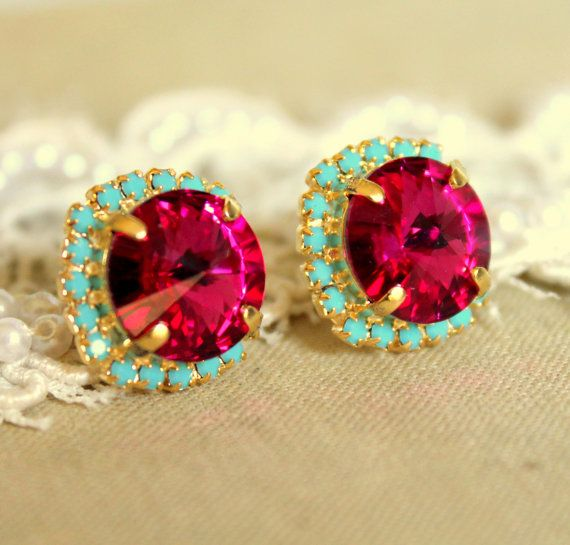 Crystal stud big pink earring  14k plated gold post by iloniti, $38.00Colors Combos, Crystals Studs, Post Earrings, Color Combos, Pink Earrings, Turquoise Earrings, Stud Earrings, Colors Combinations, Studs Earrings