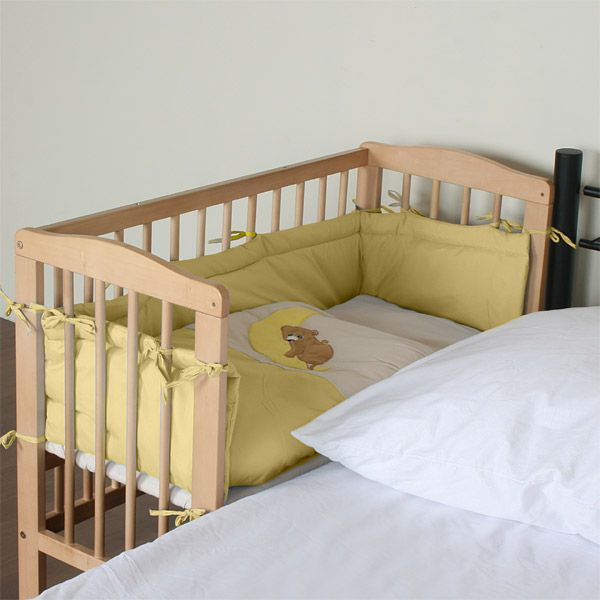 Baby Bedside Wooden Cot 94x44x75 cm Rolls Co-Sleeper Yellow 8 Pieces Adjustable | eBay  Cheaper alternative for co sleeping.