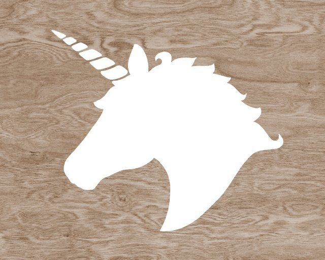 unicorn silhouette | BOGO SALE - White Unicorn Head Silhouette on Brown Wood Grain Faux ...