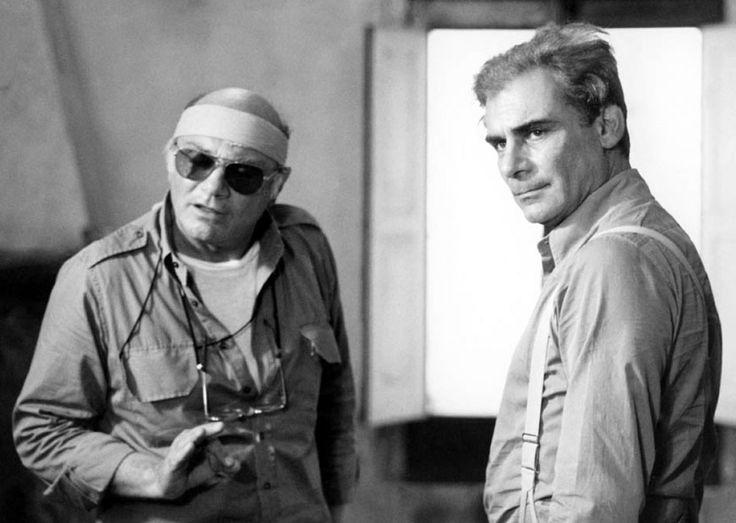 """Director Francesco Rosi and Gian Maria Volonté on the set of """"Cristo si è fermato a Eboli"""" 1979"""