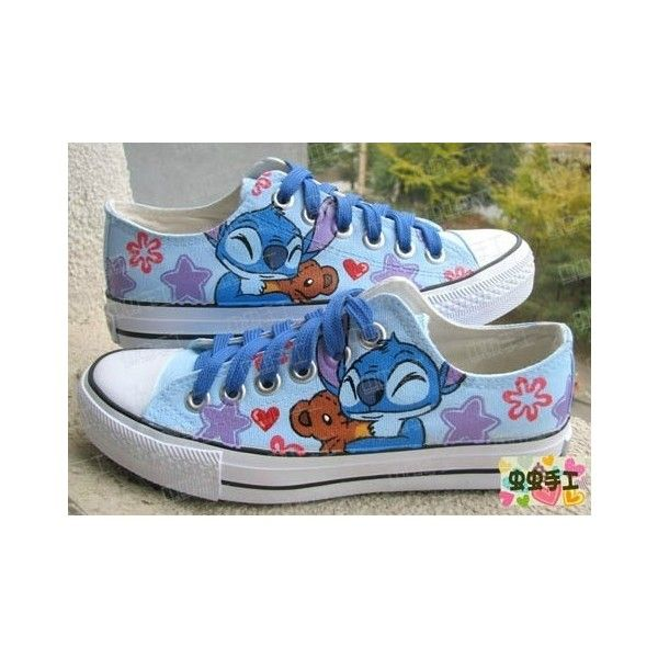 Lilo and stitch ❤ liked on Polyvore featuring shoes, disney, lilo and stitch, converse and stitch shoes