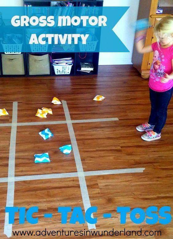 This is such a fun gross motor activities for toddlers and preschool. A giant game of Tic-Tac-Toe!