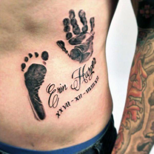 60 Handprint Tattoo Designs For Men Impression Ink Ideas In 2020 Hand Print Tattoos Tattoo Designs Men Baby Feet Tattoos