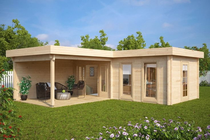 Good Large Corner Summer House With Veranda Hansa Deluxe A 22m2 / 70mm / 7 X 3 M