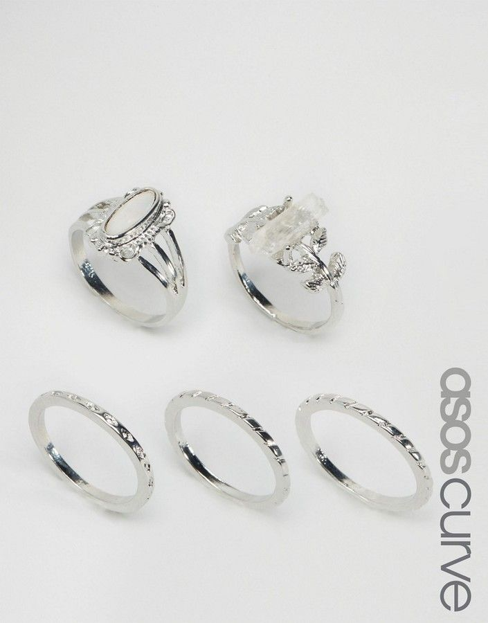 ASOS Curve ASOS CURVE Pack of 5 Crystal