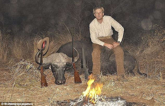 Posing with his prey, Eric Trump sits atop one of his kills. In his responses to critics on Twitter, Donald Jr said that the animals were used as meat for hungry villagers. In case you don't know, the Trump boys went on a kill safari in 2012, & proudly posed with the African leopard & water buffalo they had slaughtered. Another photo shows them laughing beside a noose from which hangs an alligator. Does it get worse than two great white hunters & an animal noose in Africa?