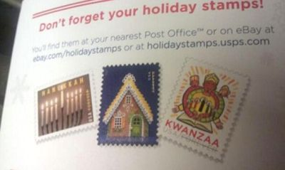 U.S. Post Office Celebrates KWANZAA and Hanukkah… BUT NOT CHRISTMAS ==  Unlike Christmas, or Hanukkah, Kwanzaa's unaffiliated with a major religion. Kwanzaa originated in the turbulent 1960s TO INSTILL RACIAL PRIDE & UNITY IN THE BLACK COMMUNITY. The U.S. Postal Service launched its first Kwanzaa stamp in 1997, releasing a second commemorative stamp in 2004.    11/13.... THIS BETTER NOT BE TRUE!!!!!!!!