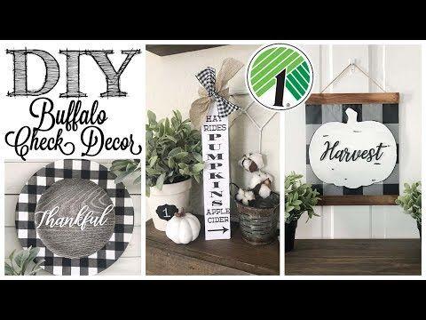 DIY Dollar Tree Fall Decor | 3 BUFFALO CHECK PROJE…