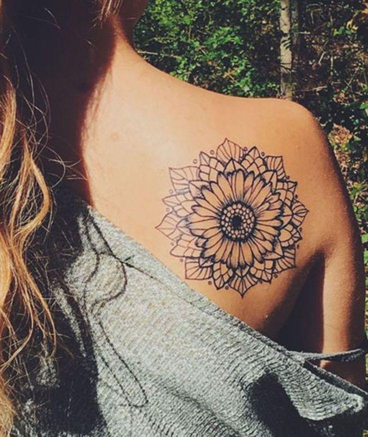 Mandala Sunflower Black and White Back Shoulder Tattoo Ideas at MyBodiArt.com