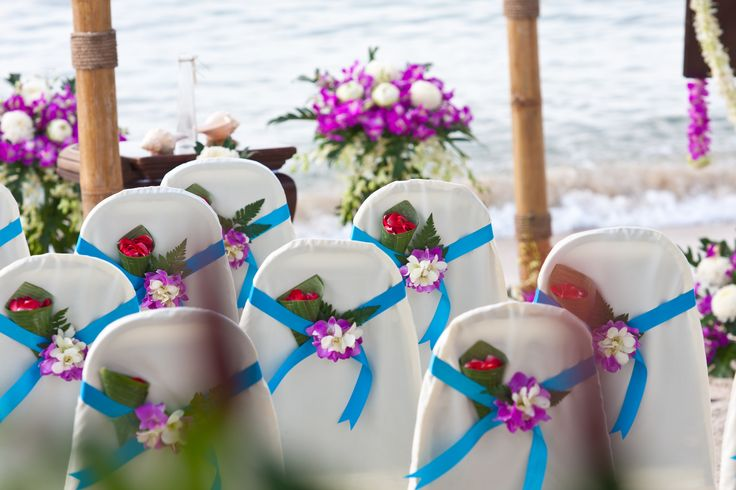Turquoise and violet beach wedding Weddings in Thailand