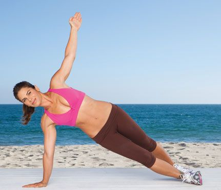 """""""Windmill""""    #Start in plank position. Shift weight to right hand and reach left hand to sky as you roll into a side plank, left foot staggered behind right (as shown). Separate legs to hip-width apart, balancing on heels, as you turn over, belly up, placing left hand on ground to come into a reverse plank. Repeat on left side for one rep. Do six reps.   #works shoulders, chest, back, abs, hips"""