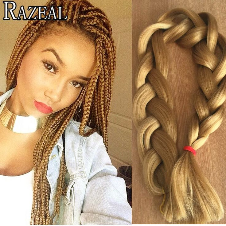 Razeal Hair 18in Kanekalon Synthetic Braiding Hair Extension Crochet Braids Honey Blond Hair Box Braids Bulk hair Jumbo Braiding