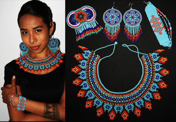 Dimensions of Jewelry: Necklace - Around the inside end to end is approx. 16 ***Feel free to request longer or shorter*** Bracelet Default Size - 5.5 x 1.25 *** Please feel free to request a custom length*** Earrings - 2 in Diameter with 4 of total hang. Barrette - 3.3 x 2 (not including fringe) ***Every order and customer is treated with the highest regard. Please see our review section here: https://www.etsy.com/your/shops/BiuluArtisanBoutique/reviews?ref=shop_info ***Gift packaging and…