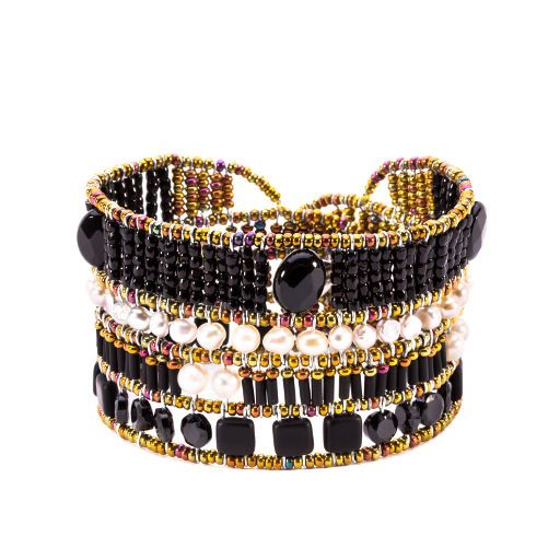 Bracelet with Bohemia glass beds, Murano glass, Spinel, Pearl and signature silver fastening (#1451).
