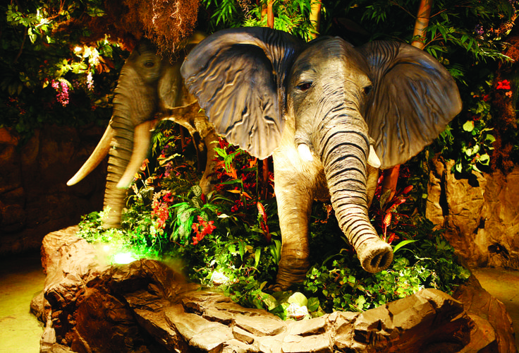 The trumpeting Elephants at Rainforest Cafe! Watch them move and read more about Rainforest conservation whilst enjoying freshly prepared meals. A wild place to shop and eat! www.therainforestcafe.co.uk