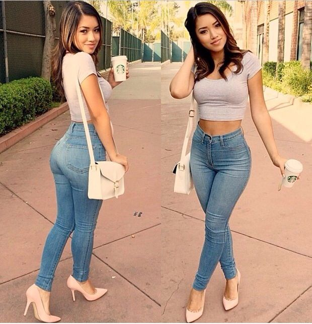 You can never go wrong with a simple yet cute jeans and heels look.
