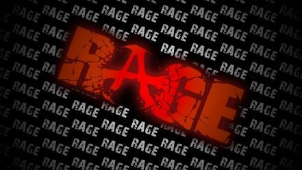 Typography in video games The main title for the RAGE video game this title has big bold red colored lettering with the symbol for anarchy in the A of rage which is quite a cool feature. With a title like this you would assume that it is a violent game with blood and anarchy like themes.