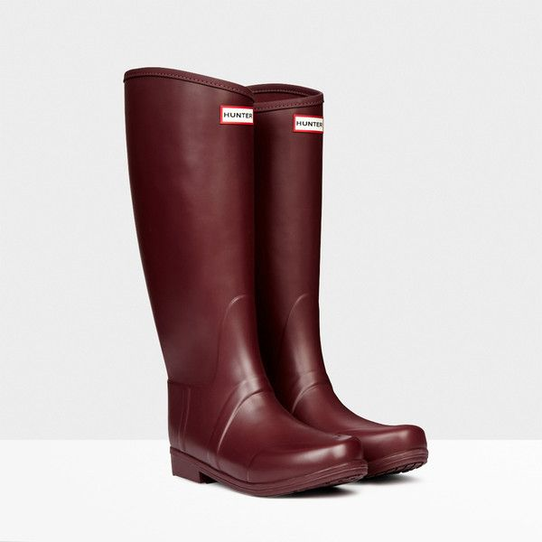 Hunter Sandhurst Equestrian Boots ($123) ❤ liked on Polyvore featuring shoes, boots, burgundy, waterproof riding boots, long riding boots, waterproof slip on shoes, equestrian riding boots and equestrian boots
