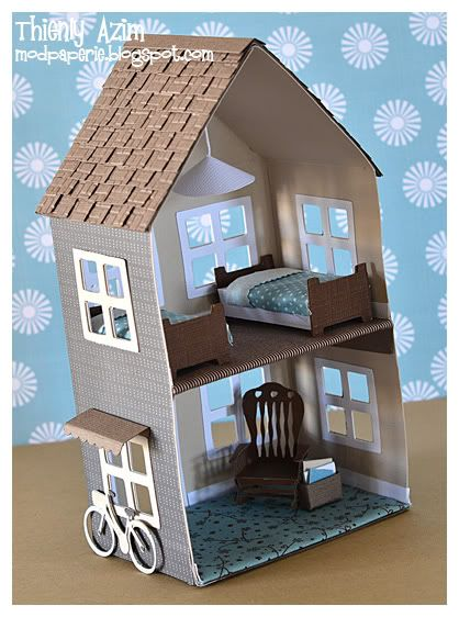 Mod Paperie's spin on A Little Hut's svg file dollhouse. So sweet!