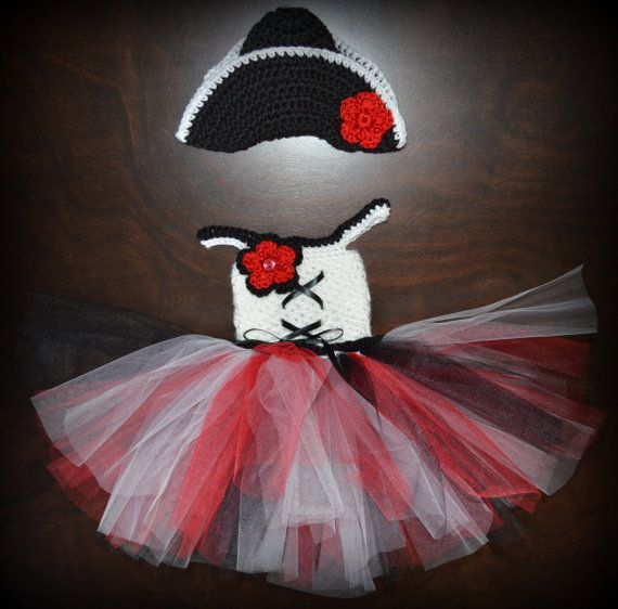 Crochet Pirate Tulle Tutu Dress with Matching Hat Baby Costume Handmade Photo Prop via Etsy