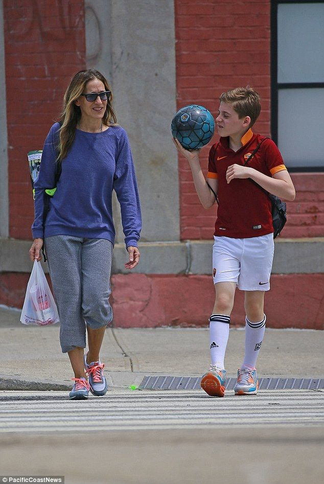 Soccer mom: Sarah Jessica Parker looked right at home as she slipped into mom duty while taking son James to his soccer game in NYC on 4 Jun 2016